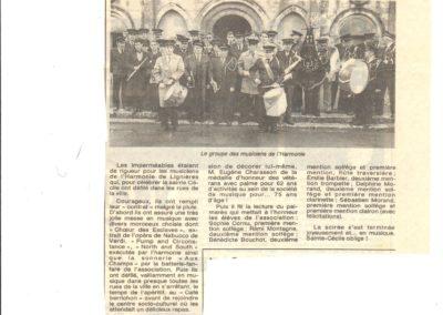 Article Sainte Cécile Fanfare de Lignières 15.11.1992