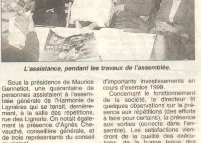 Article Assemblée Générale 30.01.1999