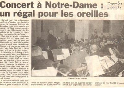 Article Concert de Noël avec la choral du Subdray 15.12.2001