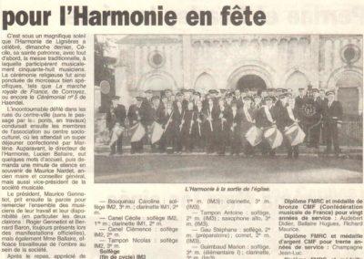 Article Sainte Cécile 15.11.1998