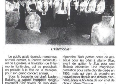 Article Concert Harmonie 24.05.1997